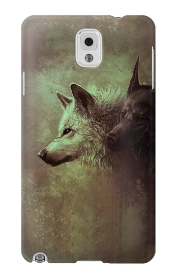 Printed White Black Wolf Samsung Note 3 Case