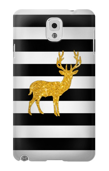 Printed Black and White Striped Deer Gold Sparkles Samsung Note 3 Case