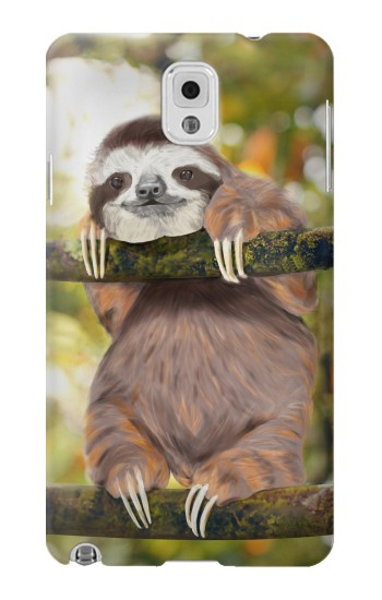 Printed Cute Baby Sloth Paint Samsung Note 3 Case