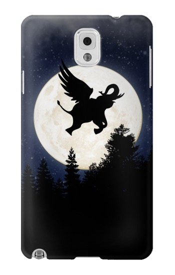 Printed Flying Elephant Full Moon Night Samsung Note 3 Case