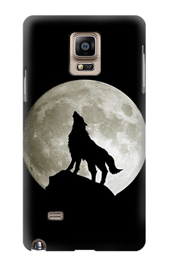 Printed Wolf Howling at The Moon Samsung Note 4 Case