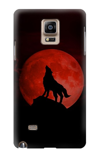 Printed Wolf Howling Red Moon Samsung Note 4 Case