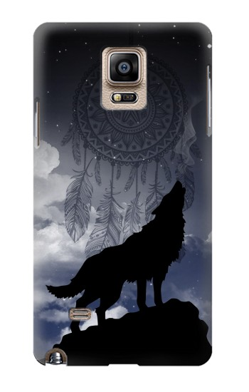 Printed Dream Catcher Wolf Howling Samsung Note 4 Case