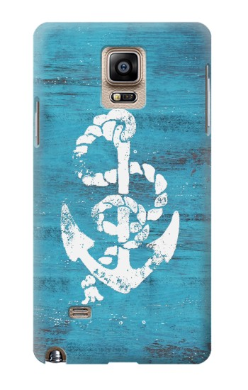 Printed Marine Anchor Blue Wooden Samsung Note 4 Case