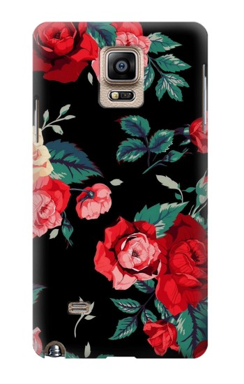 Printed Rose Floral Pattern Black Samsung Note 4 Case