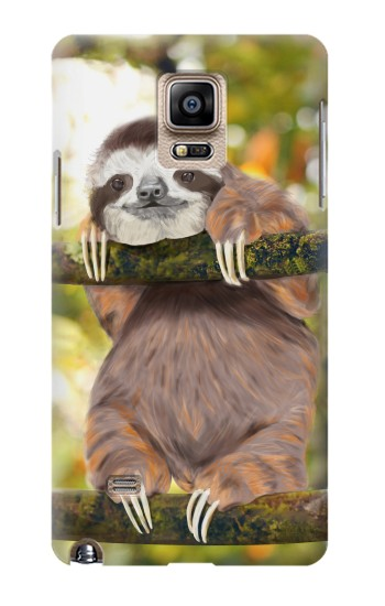 Printed Cute Baby Sloth Paint Samsung Note 4 Case