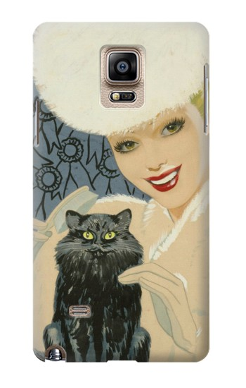 Printed Beautiful Lady With Black Cat Samsung Note 4 Case