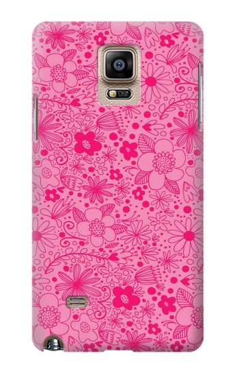 Printed Pink Flower Pattern Samsung Note 4 Case