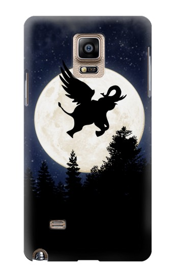 Printed Flying Elephant Full Moon Night Samsung Note 4 Case
