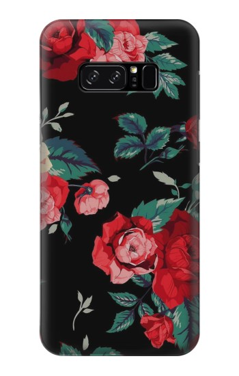Printed Rose Floral Pattern Black HTC Desire 320 Case
