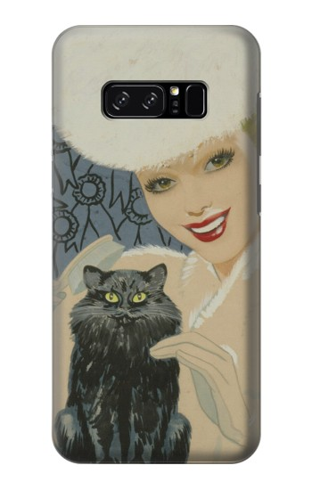 Printed Beautiful Lady With Black Cat HTC Desire 320 Case