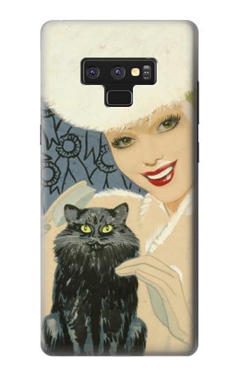 Printed Beautiful Lady With Black Cat Samsung Note9 Case