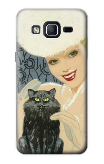 Printed Beautiful Lady With Black Cat Samsung Galaxy On5 Case
