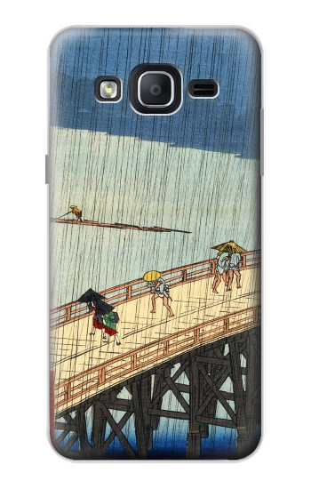 Printed Utagawa Hiroshige Sudden shower over Shin Oashi bridge and Atake Samsung Galaxy On5 Case