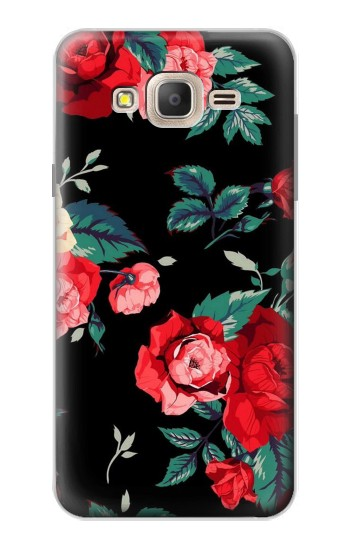 Printed Rose Floral Pattern Black Samsung Galaxy On7 Case