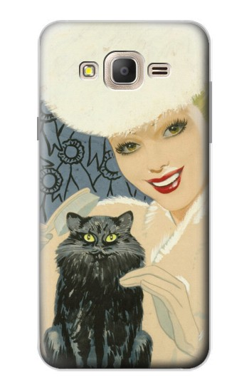 Printed Beautiful Lady With Black Cat Samsung Galaxy On7 Case