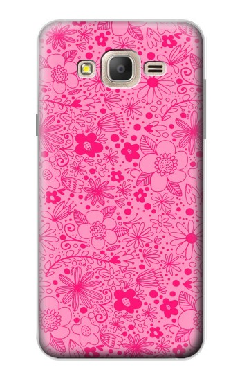 Printed Pink Flower Pattern Samsung Galaxy On7 Case