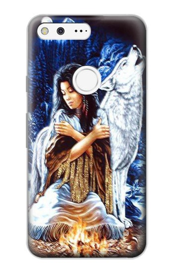 Printed Grim Wolf Indian Girl Google Pixel Case