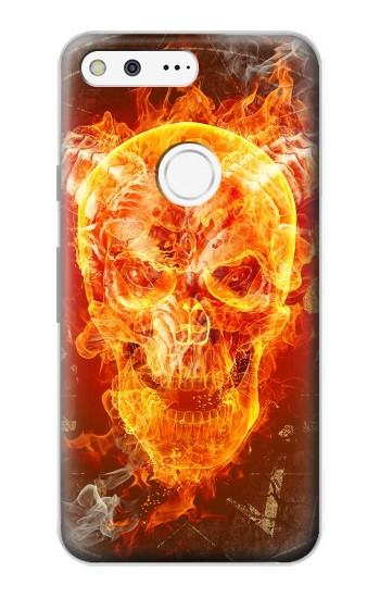 Printed Skull Burn Google Pixel Case