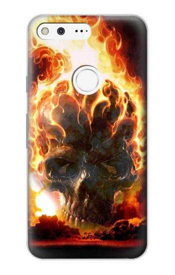 Printed Hell Fire Skull Google Pixel Case