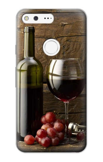 Printed Grapes Bottle and Glass of Red Wine Google Pixel Case