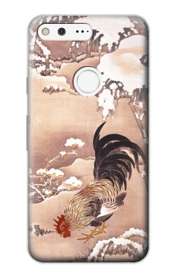 Printed Ito Jakuchu Rooster Google Pixel Case
