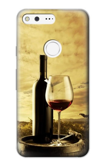 Printed A Grape Vineyard Grapes Bottle and Glass of Red Wine Google Pixel Case