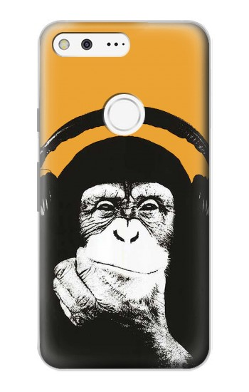Printed Funny Monkey with Headphone Pop Music Google Pixel Case