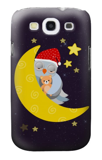Printed Sleepy Owl Moon Night Samsung Galaxy S3 Case