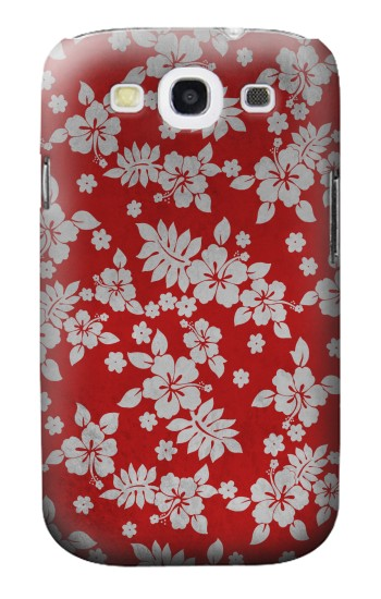 Printed Vintage Red Hawaiian Flower Pattern Samsung Galaxy S3 Case