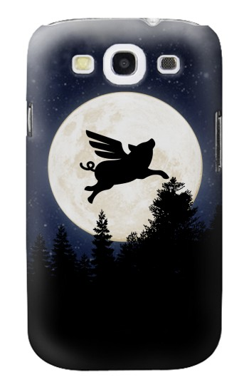 Printed Flying Pig Full Moon Night Samsung Galaxy S3 Case