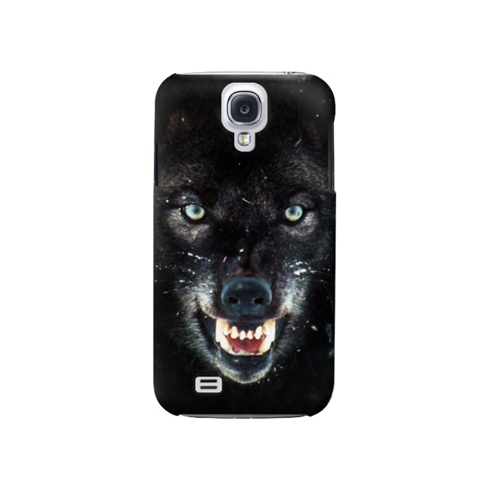 Printed Black Wolf Blue Eyes Face Samsung Galaxy S4 Case