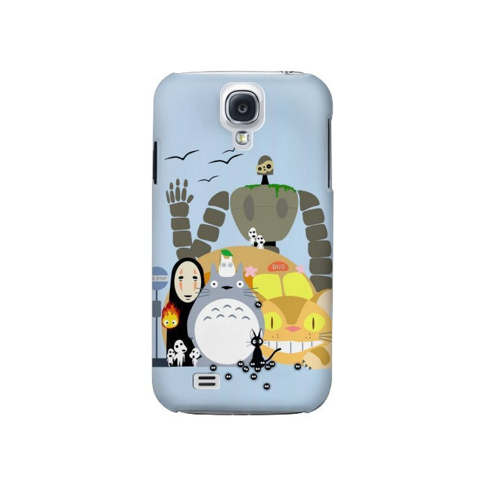 Printed Totoro Cat Bus Laputa Noface and Friends Samsung Galaxy S4 Case