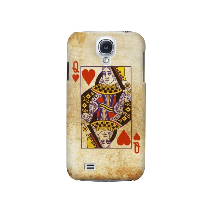 Printed Poker Card Queen Hearts Samsung Galaxy S4 Case