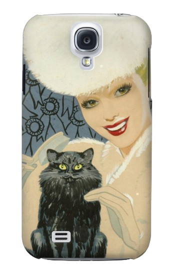 Printed Beautiful Lady With Black Cat Samsung Galaxy S4 Case