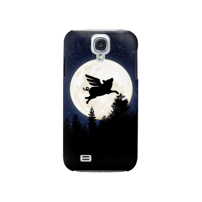 Printed Flying Pig Full Moon Night Samsung Galaxy S4 Case