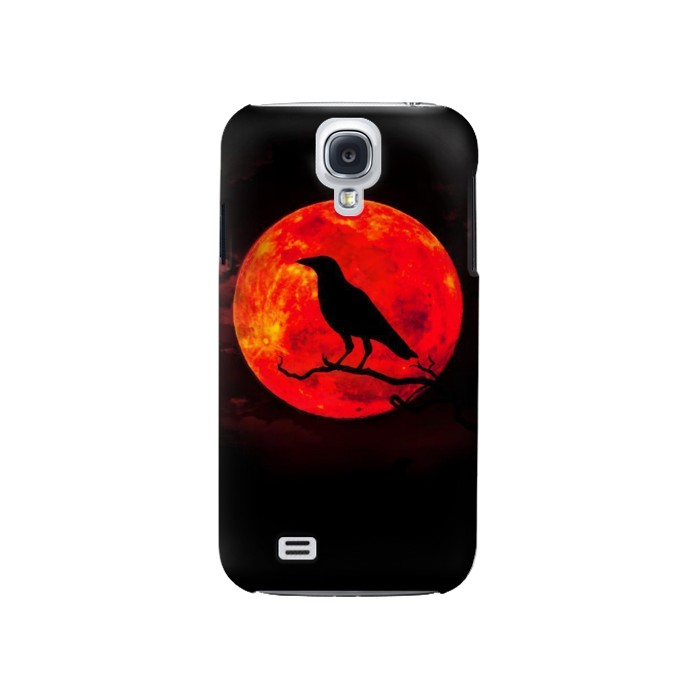 Printed Crow Red Moon Samsung Galaxy S4 Case