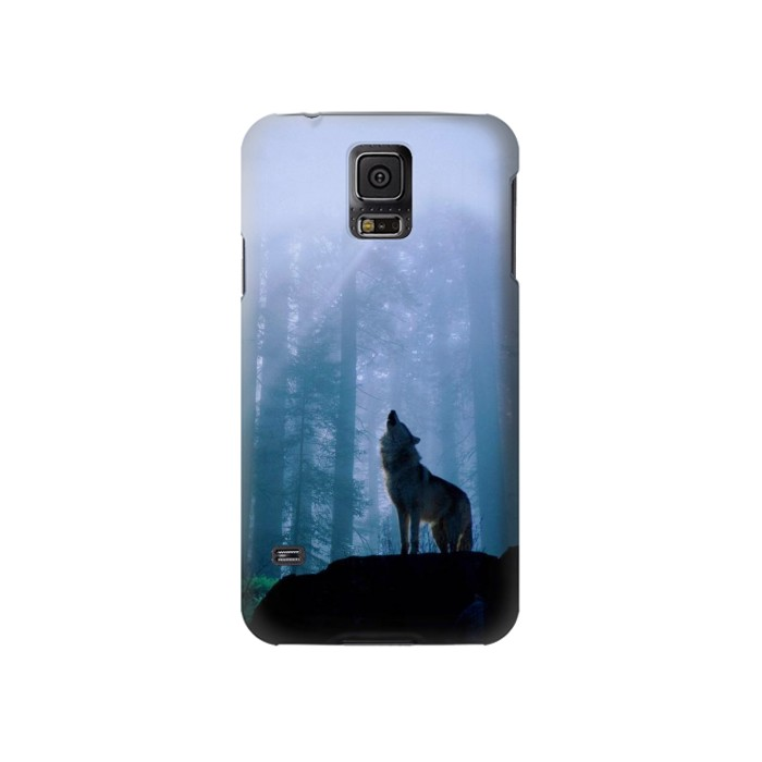 Printed Wolf Howling in Forest Samsung Galaxy S5 Case