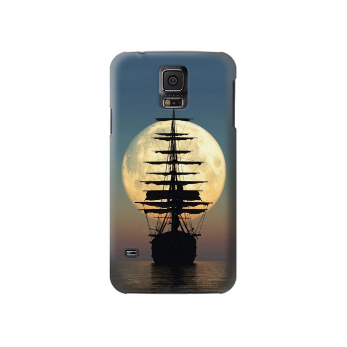 Printed Pirate Ship Moon Night Samsung Galaxy S5 Case