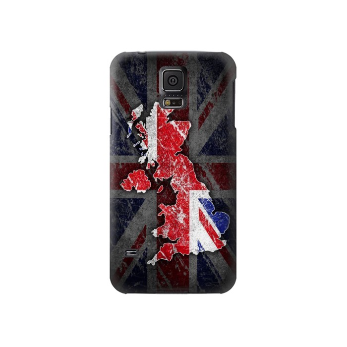 Printed UK British Flag Map Samsung Galaxy S5 Case