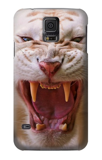 Printed White Saber Toothed Tiger Samsung Galaxy S5 Case