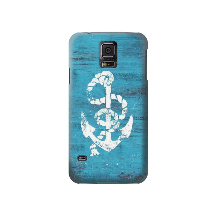 Printed Marine Anchor Blue Wooden Samsung Galaxy S5 Case