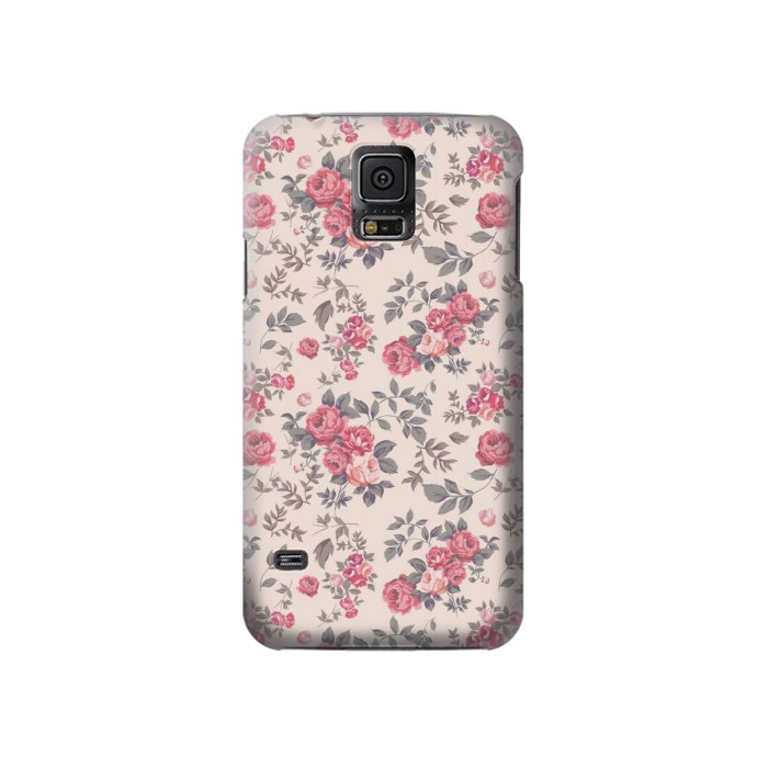 Printed Vintage Rose Pattern Samsung Galaxy S5 Case