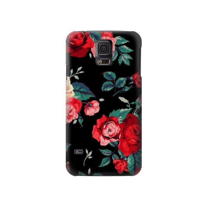Printed Rose Floral Pattern Black Samsung Galaxy S5 Case
