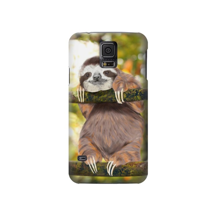 Printed Cute Baby Sloth Paint Samsung Galaxy S5 Case