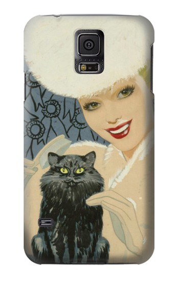 Printed Beautiful Lady With Black Cat Samsung Galaxy S5 Case