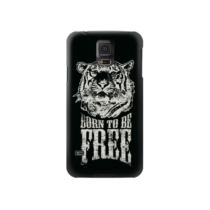 Printed Born to Be Free Tiger Samsung Galaxy S5 Case