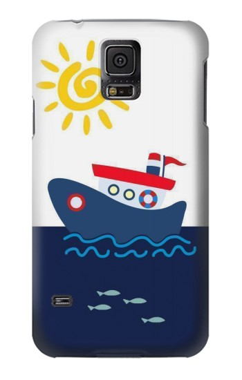 Printed Cartoon Fishing Boat Samsung Galaxy S5 Case