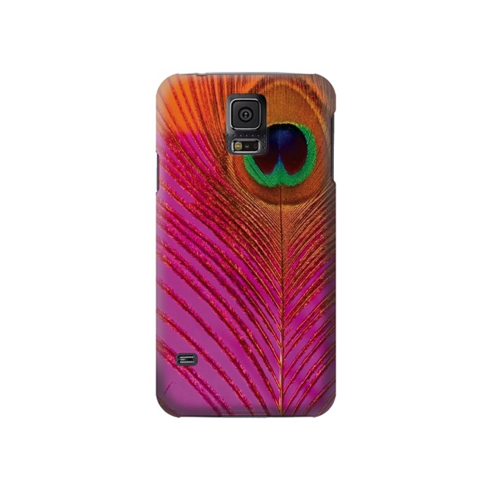 Printed Pink Peacock Feather Samsung Galaxy S5 Case