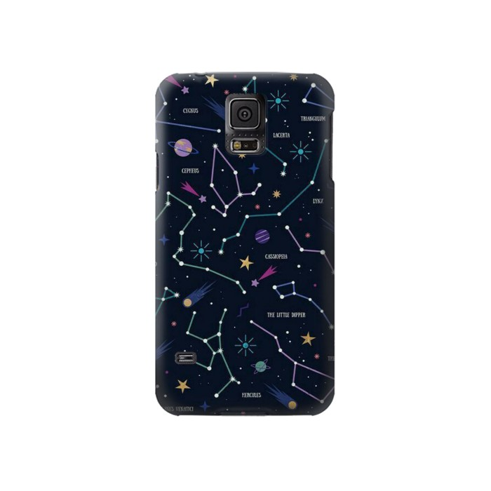 Printed Star Map Zodiac Constellations Samsung Galaxy S5 Case